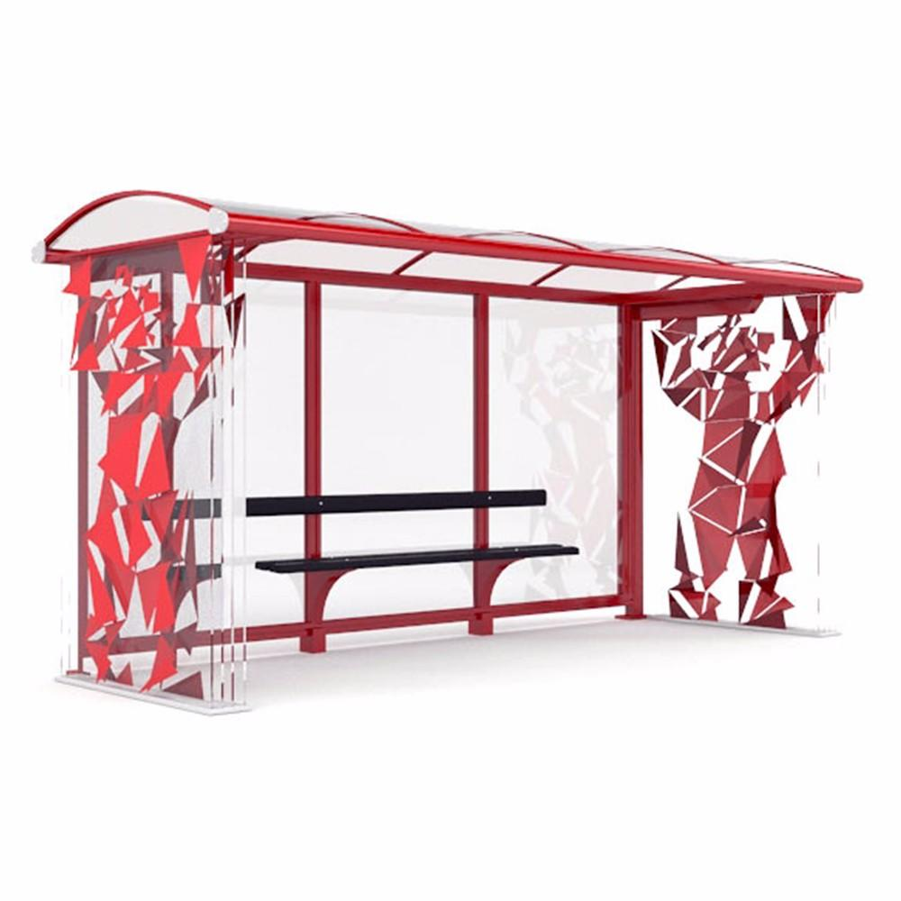 Prefab heated bus stop shelter pole