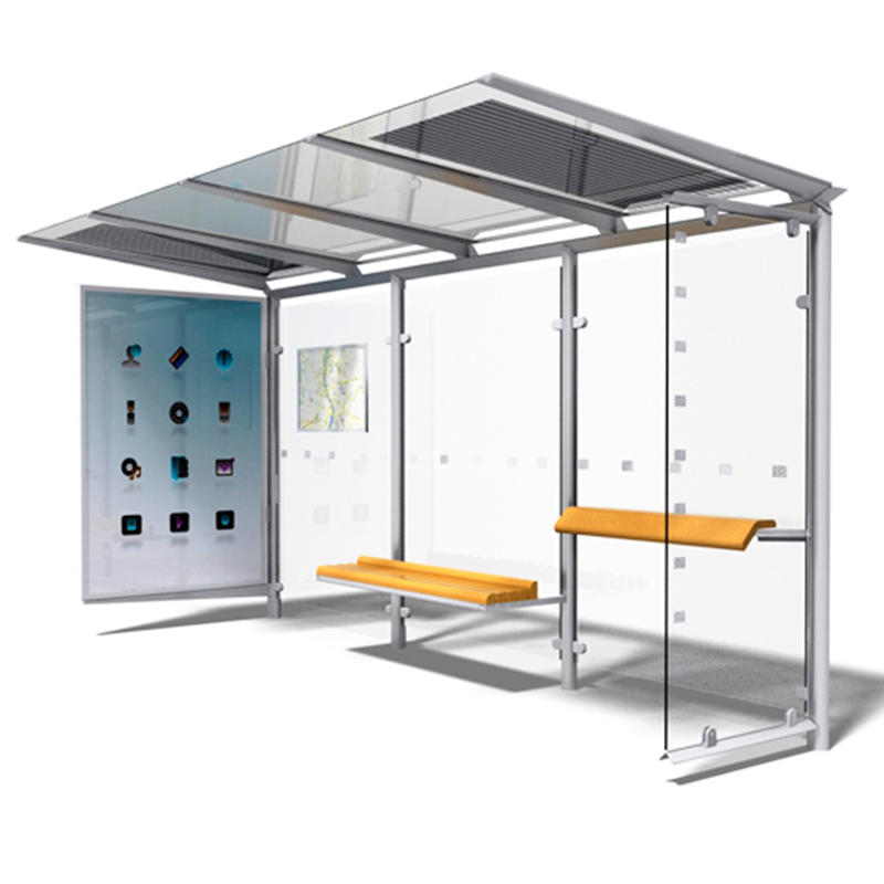 Outdoor furniture stainless steel bus shelter tempered glass panel