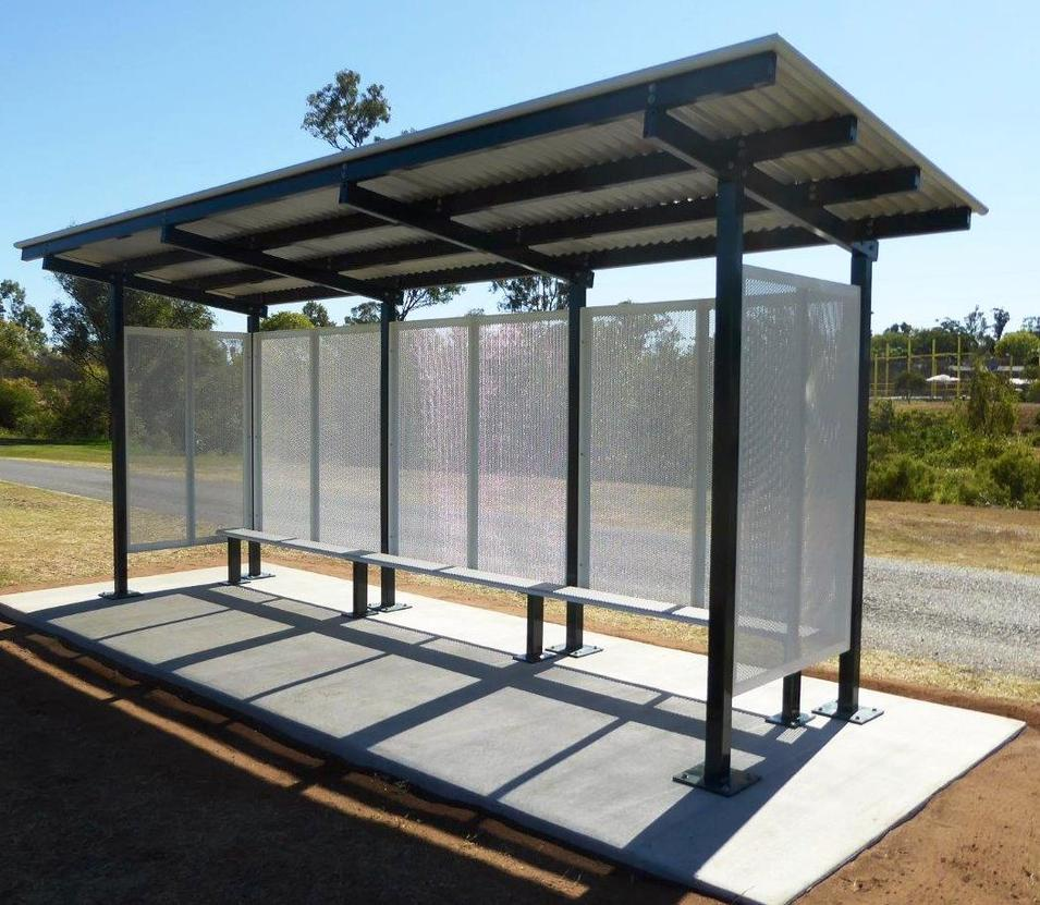 Metal Structure Bus Stop Shelter Station For Advertising