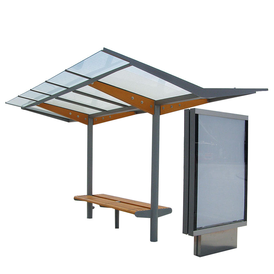 Popular Stainless Structure Bus Stop Shelter With LED digital light box Advertising display