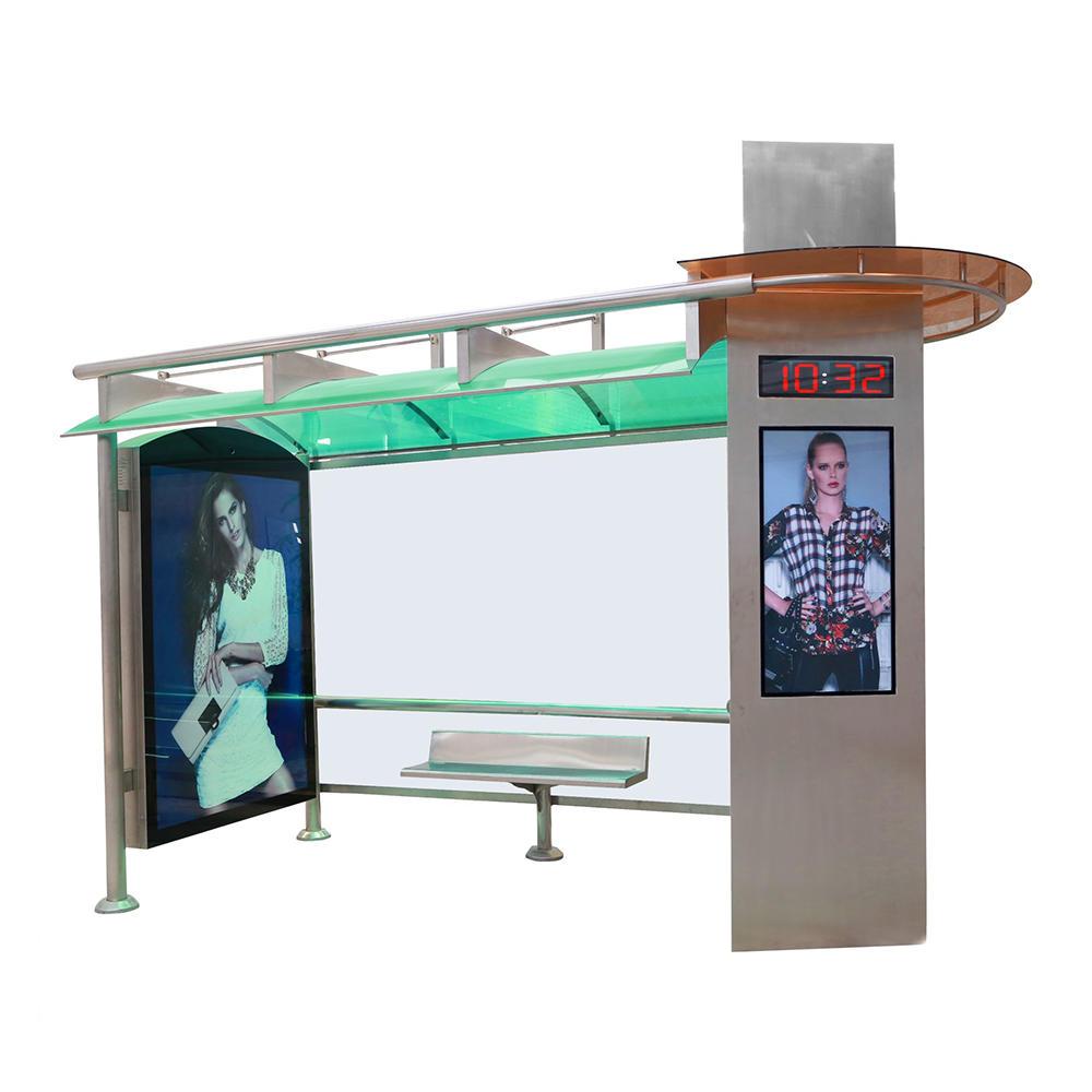Street furniture metal bus stop shelter