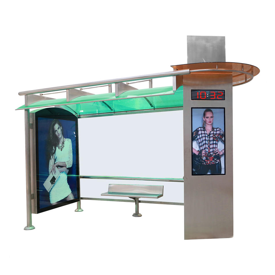 Street furniture metal bus stop shelter