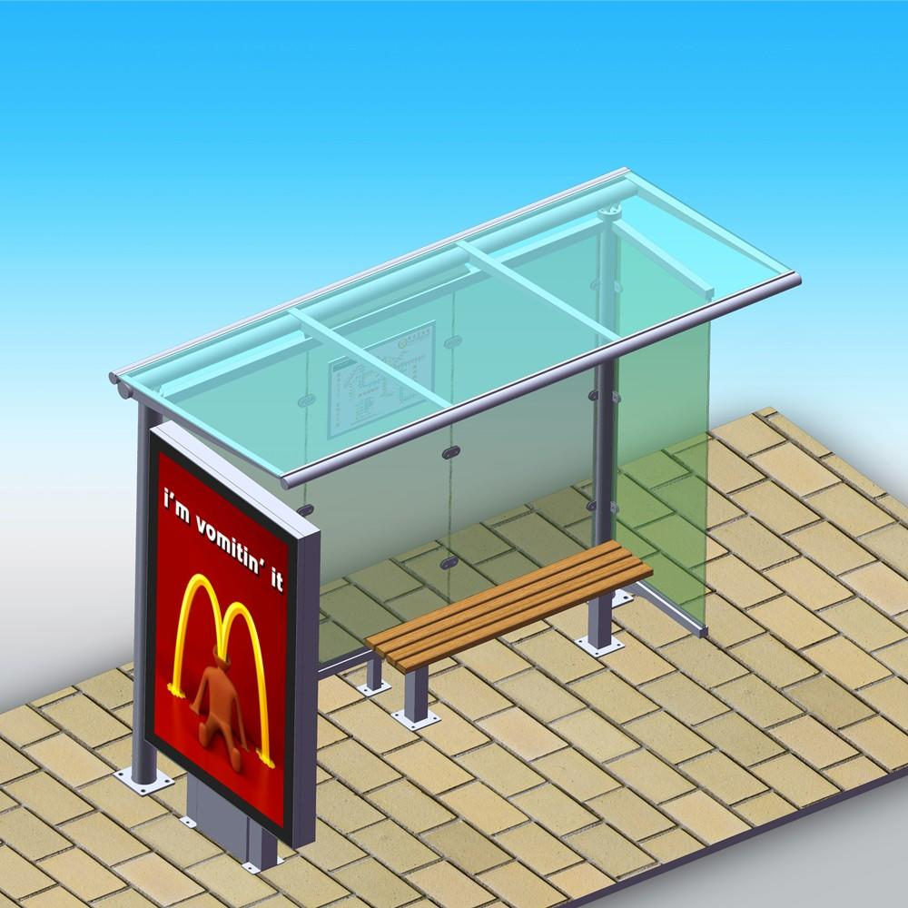 Newest customized design advertising bus stop shelter prices