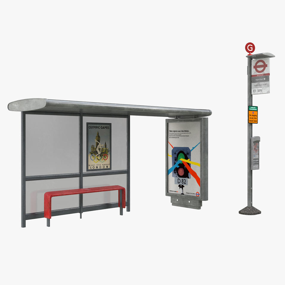 Outdoor modern street furniture Bus Stop Shelter bus shelter
