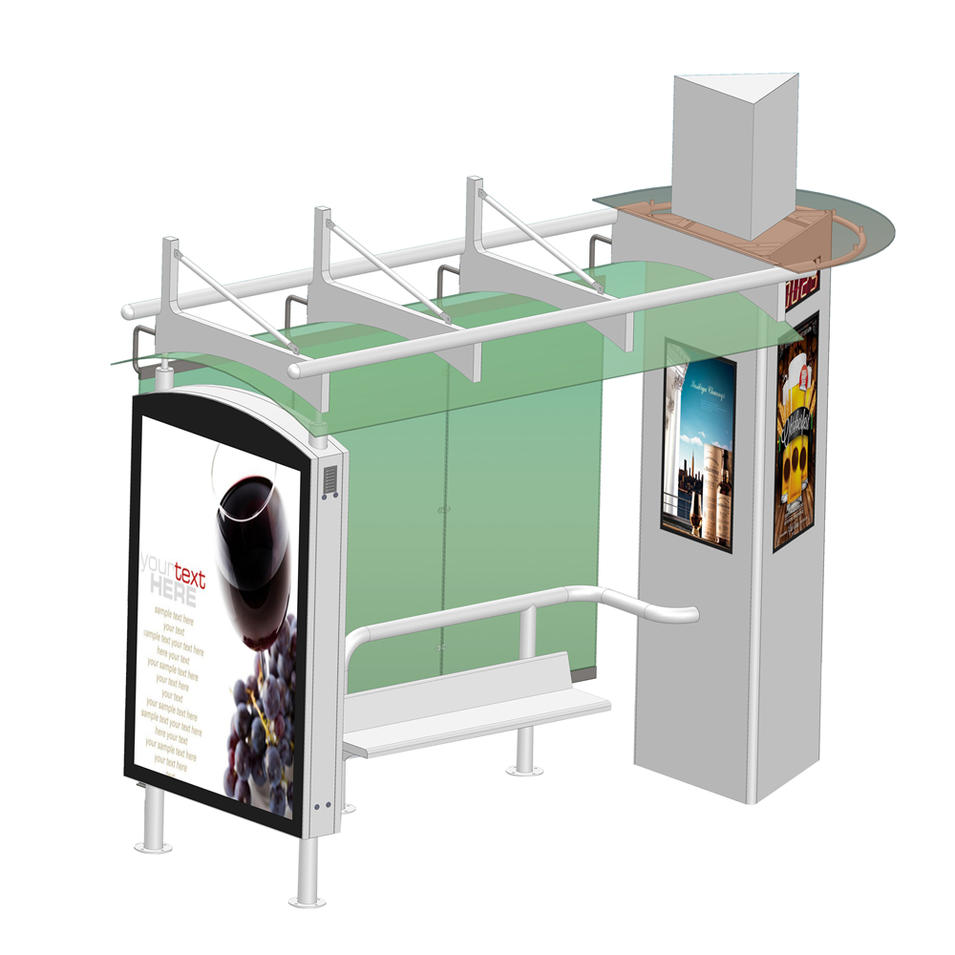 Outdoor public street advertising bus shelter with digital screen