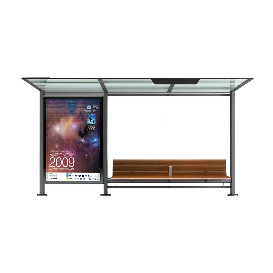 Modern Waiting Bus Stop Station Kiosk Shelter with Plexiglass Sheets