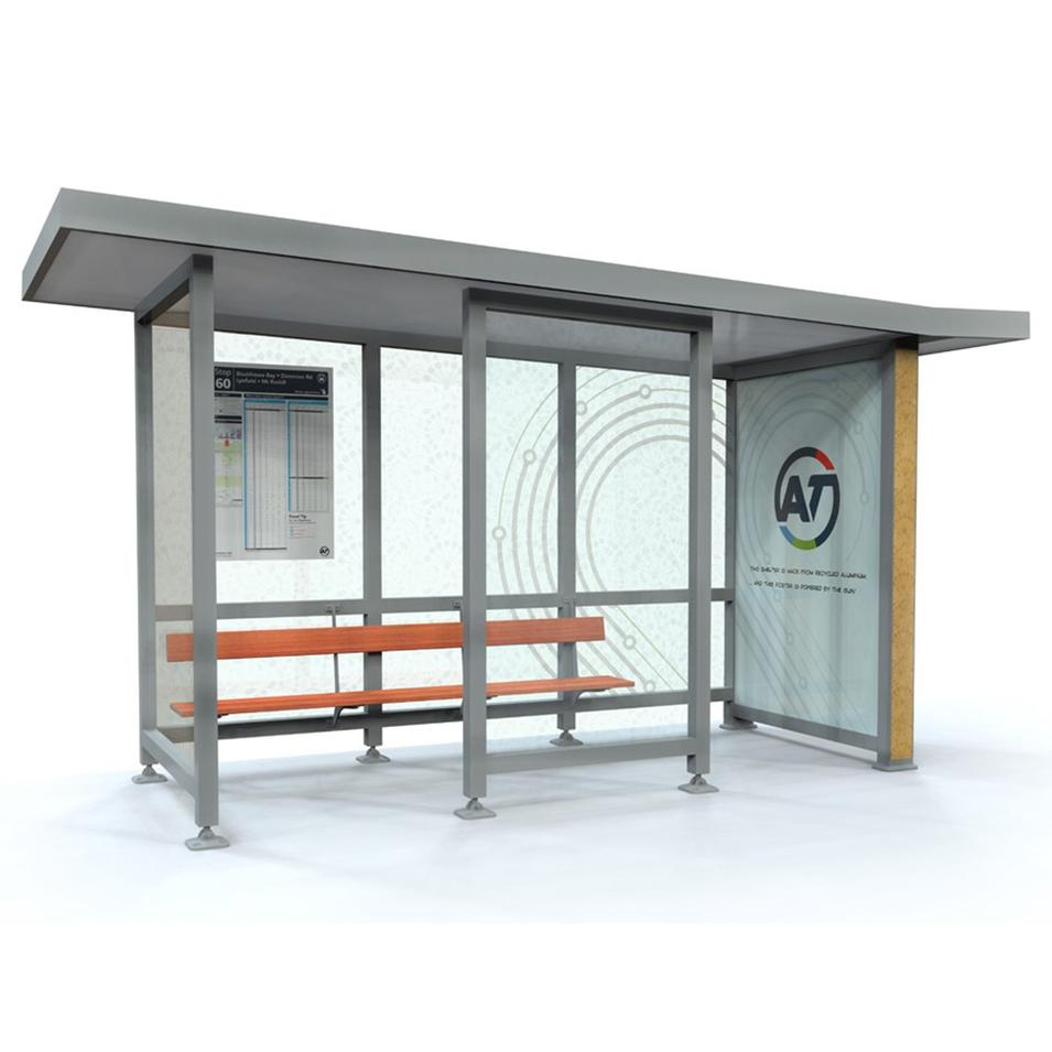 Bus stop Shelter Stainless Steel Support With Tempered Glass
