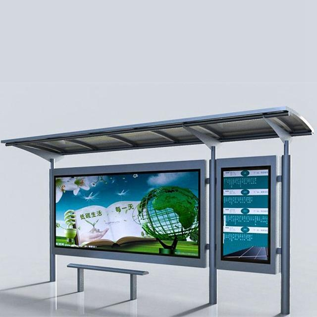 Modern Metal Bus Stop Shelter for Outdoor Advertising