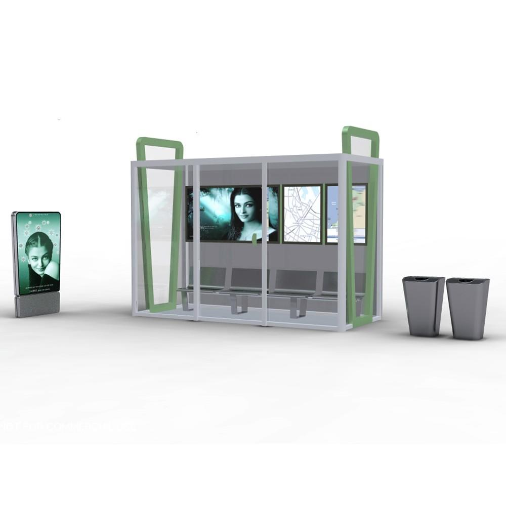 Outdoor Advertising City Bus Station Shelter Stainless Steel Material