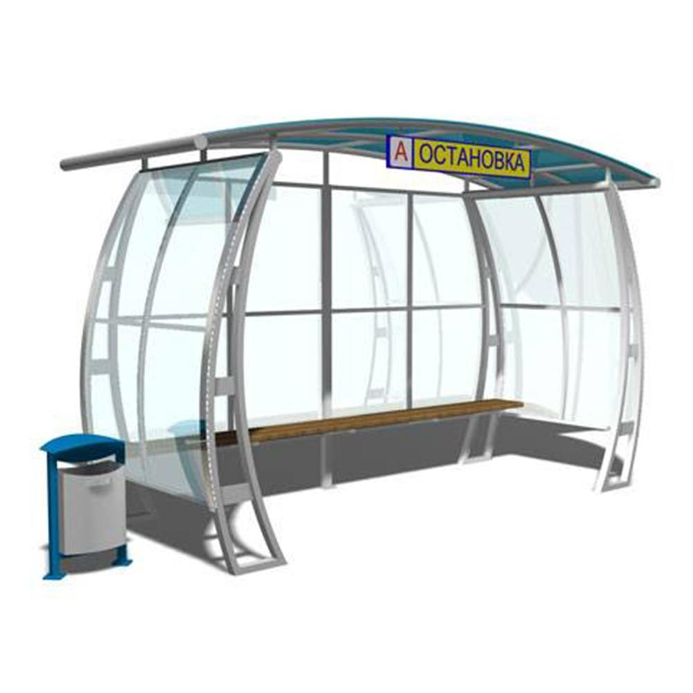 Smart design waiting bus stop shelter with light box sign