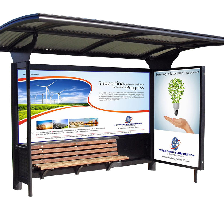 Heat Stainless Steel Bus Stop Shelter With Bench