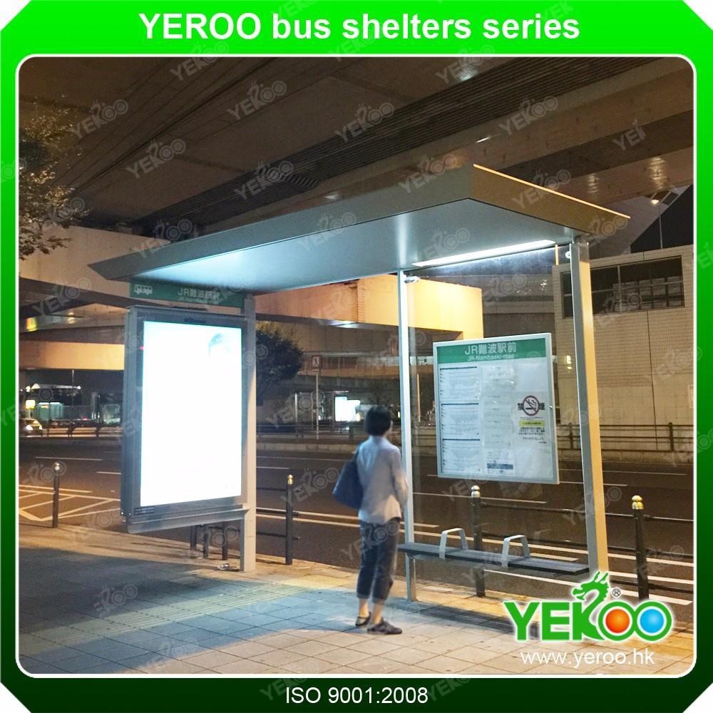 Metal Bus Stop Shelter Design Advertising Billboard