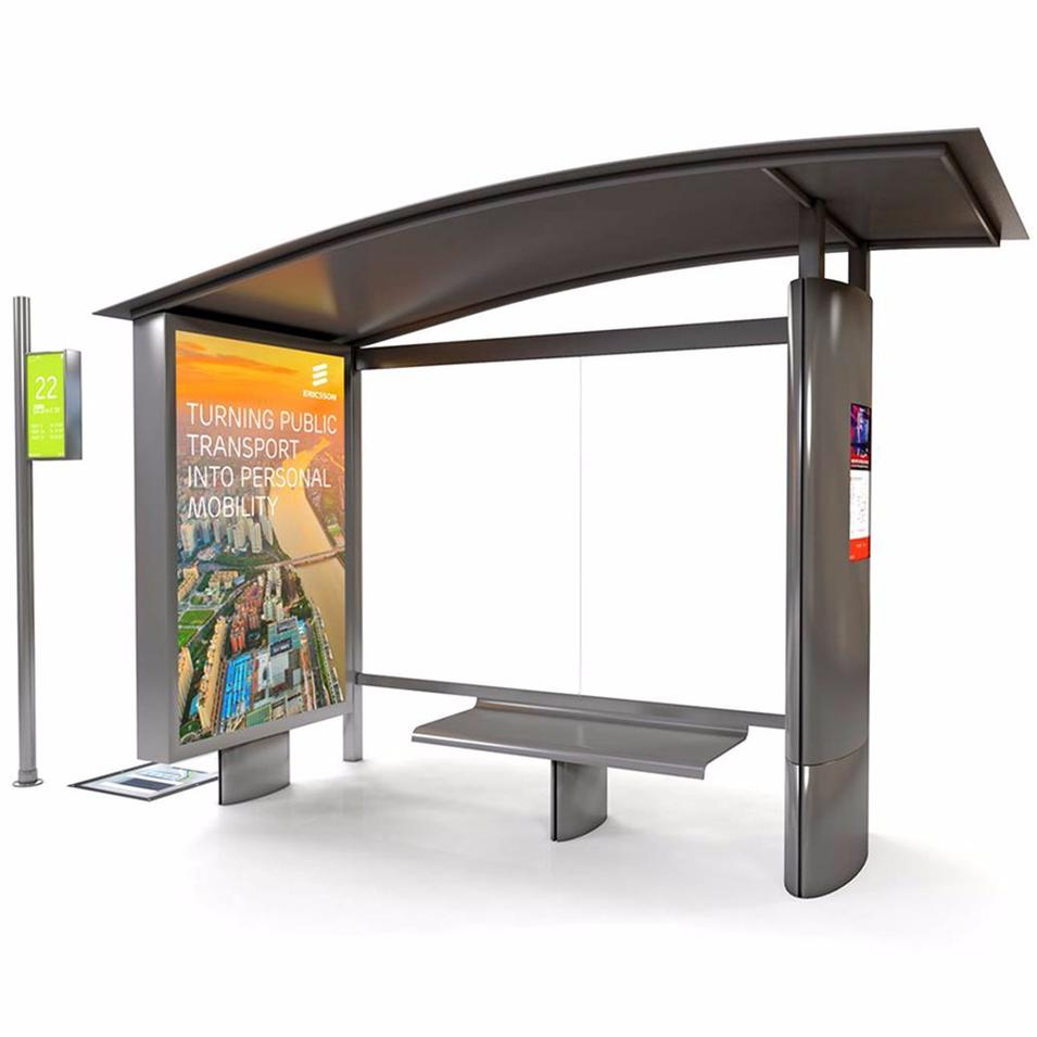 Advertising Display Metal Light Box Bus Station Shelter