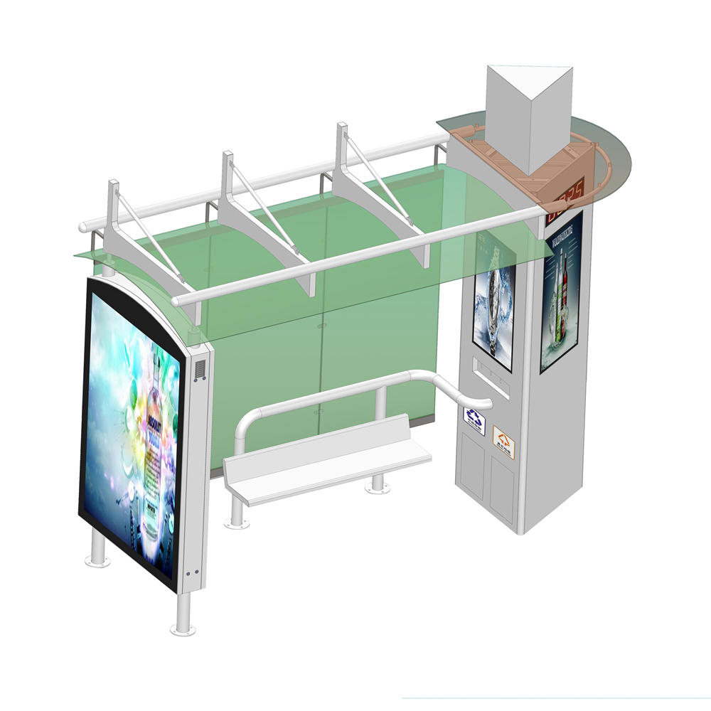 Outdoor Advertising Stainless Structure Bus Station Shelter