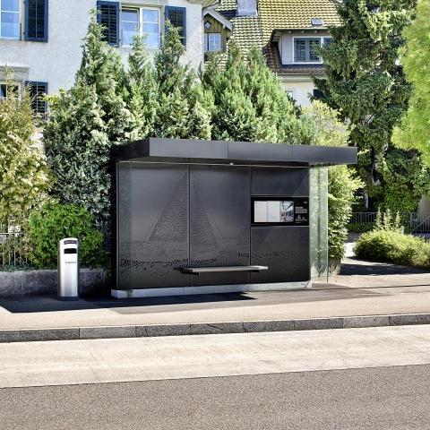 outdoor advertising street furniture metal bus stop shelter