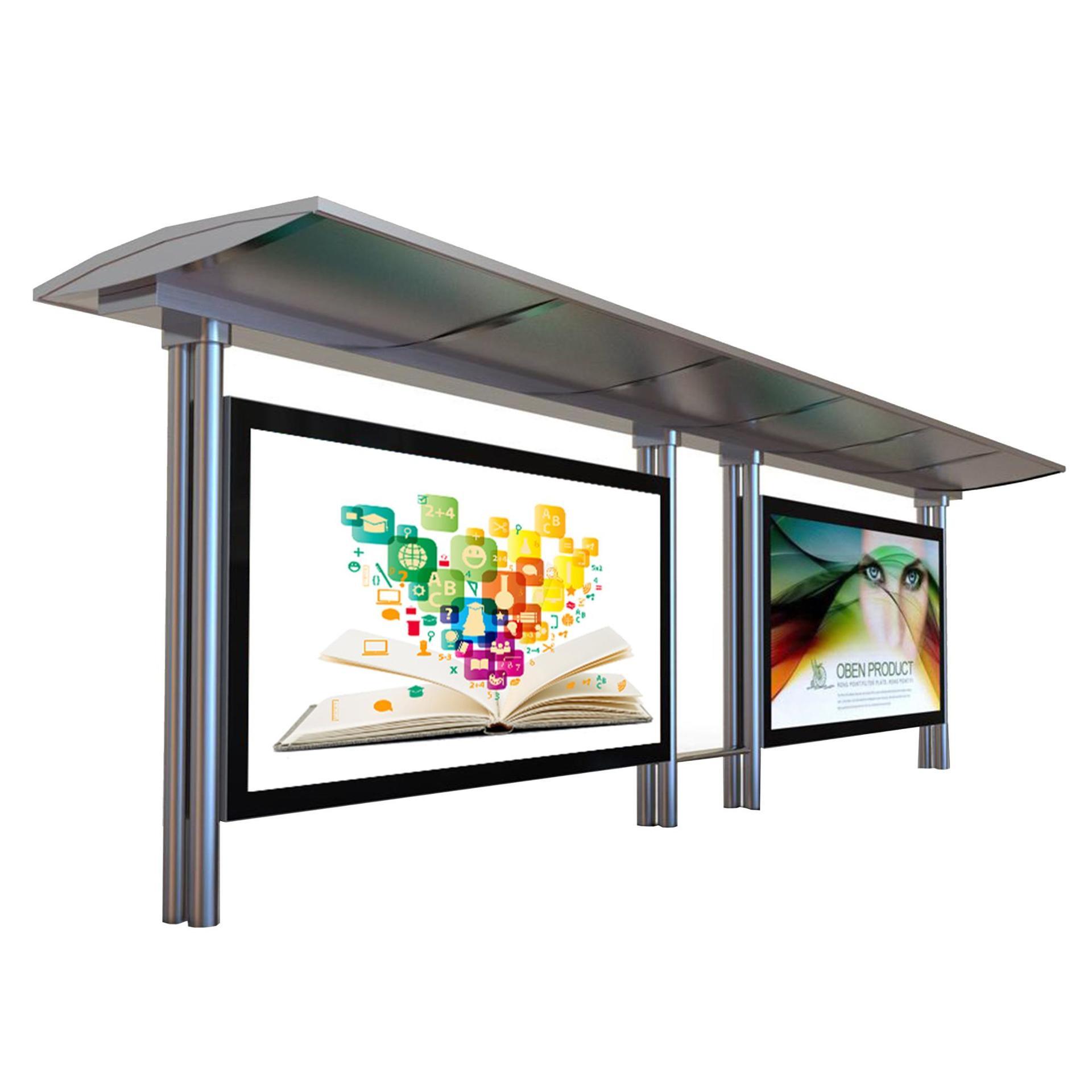 Customize design stainless steel bus shelter Advertising Light Box