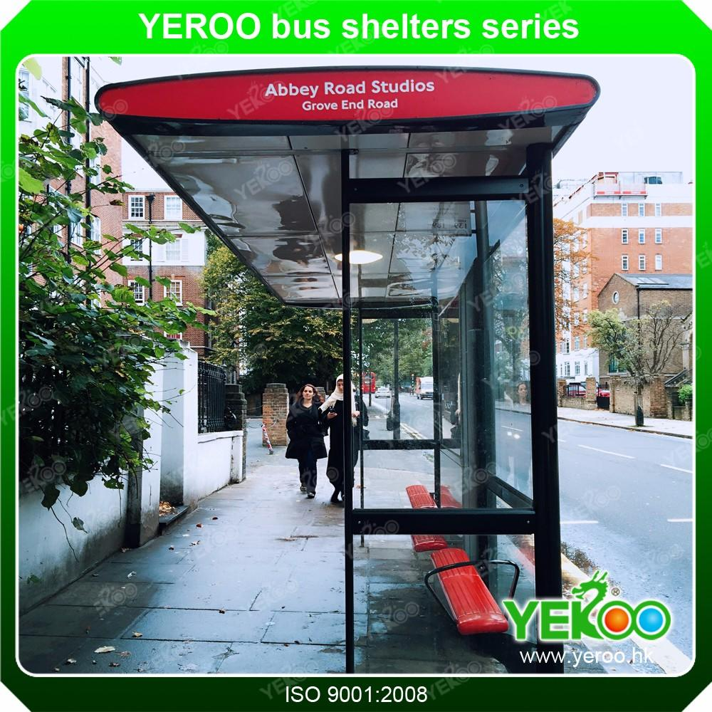 China Big Outdoor Advertising Bus Shelter Stop Station LCD screen display video with Monitor and Announce