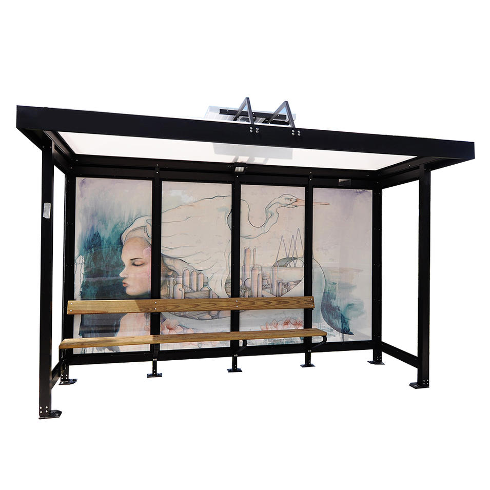 modern metal structure polycarbonate bus stop shelter
