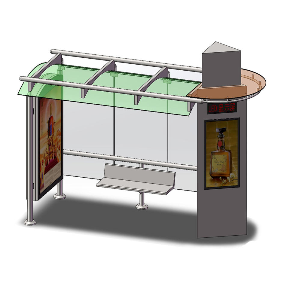 Road Advertising Bus Shelter with Chair