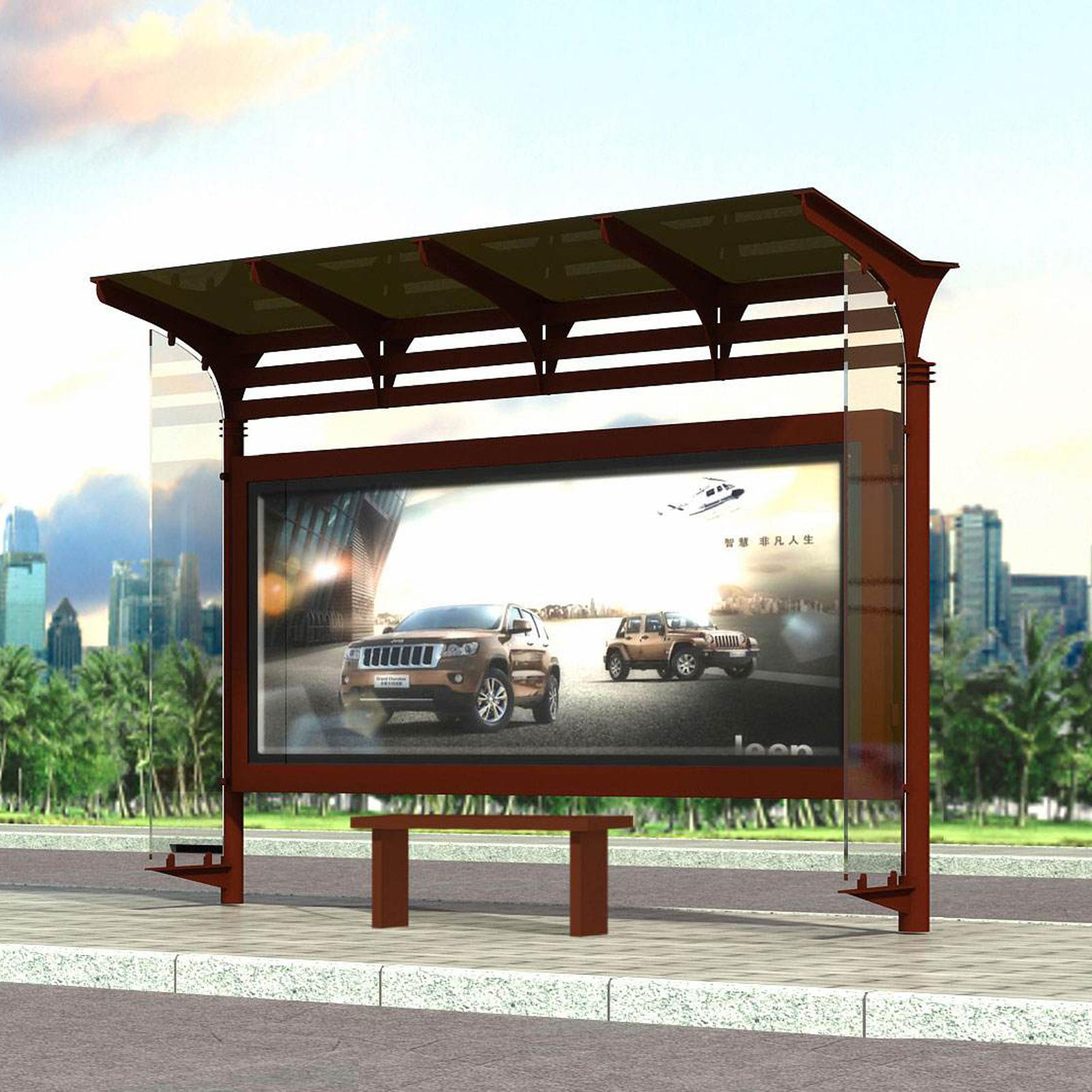 Outdoor advertising light box bus stop shelter station