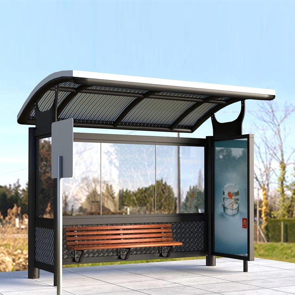Advertising customized bus stop shelter r Roof Bench bus shelters with light box