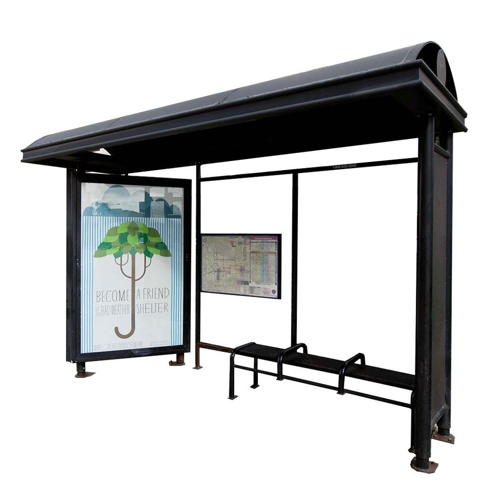 Modern Design Bus StopShelter With LED Display Light Box