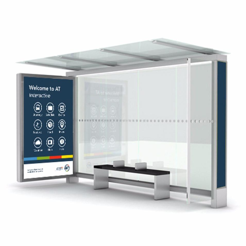 Outdoor Public Street Advertising Bus Shelter With Digital Touch Screen
