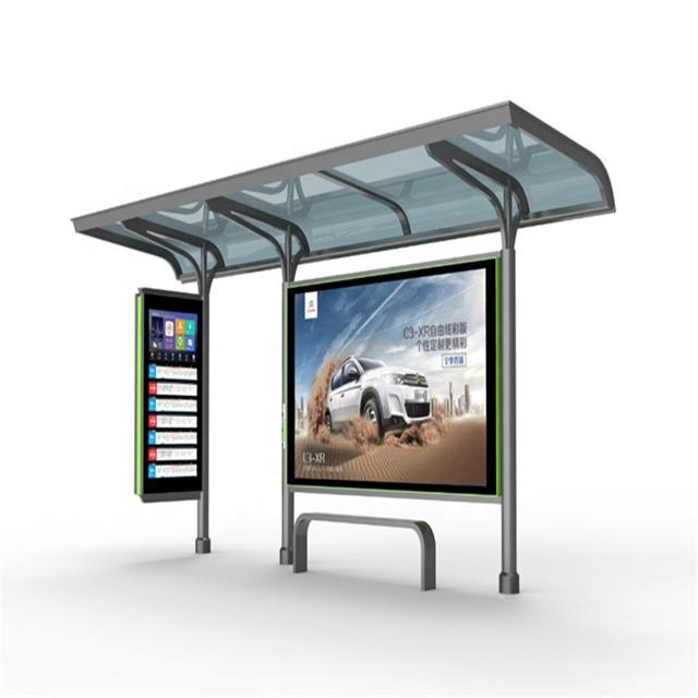 Outdoor Advertising Bus Stop Shelter Station For Passenger Waiting Bus