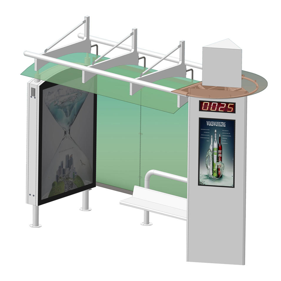 Metal Prefabricated Bus Stop Shelter Advertising Equipment for Sale