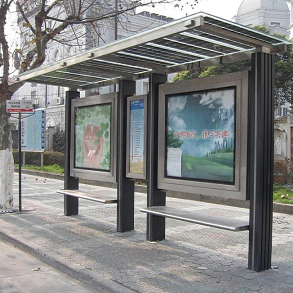Customized bus shelter station with USB charger bus stop advertising bus stop