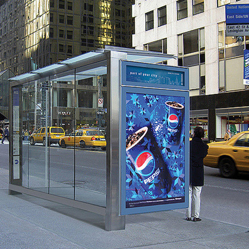 High Quality Steel Structure Bus Stop Advertising Bus Shelter