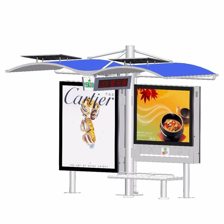 High quality bus stop steel structure bus shelter for outdoor advertising
