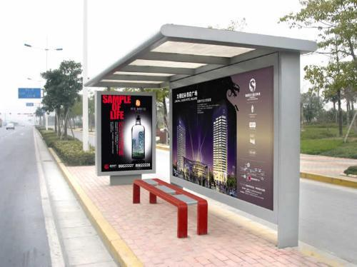 2020 New Style Metal Bus Stop Shelter And Scrolling Light Box