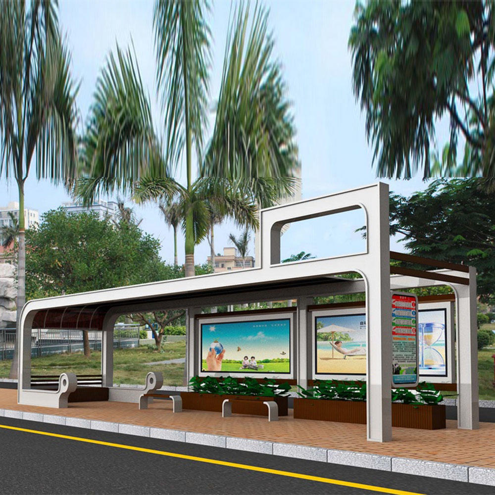 2020 outdoor furniture modern design advertising bus station