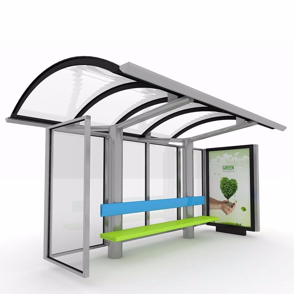 Customized Exquisite Stainless Steel Modern Bus Station Shelter Design