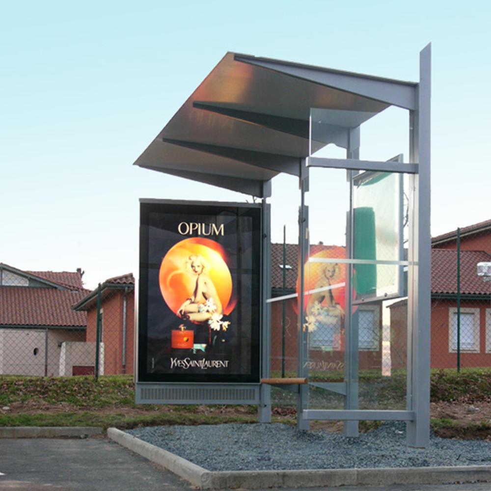 High Quality Tempered Glass Bus Stop Shelter Station