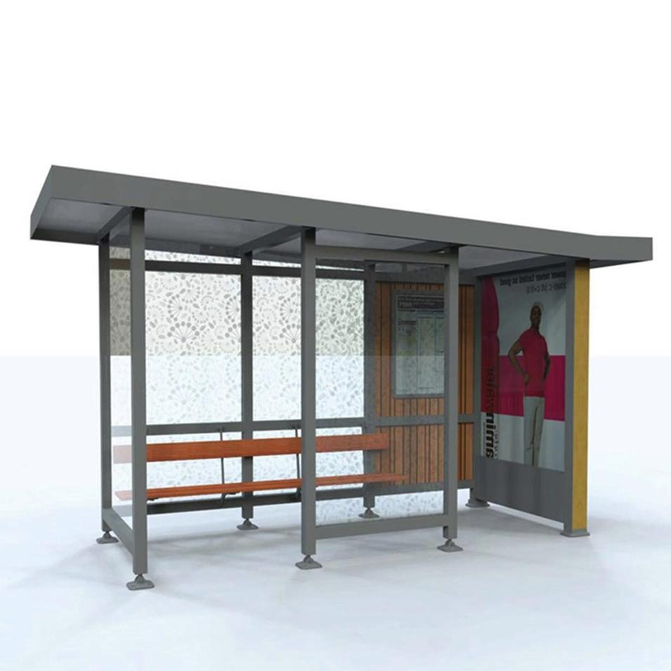 Simple stainless steel bus stop shelter for sales