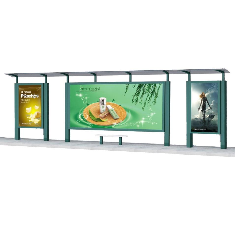 Outdoor Advertising Bus stop Shelter Steel Structure