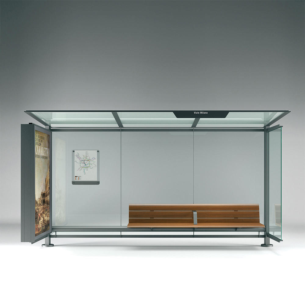 Outdoor galvanized public modern advertising bus stop