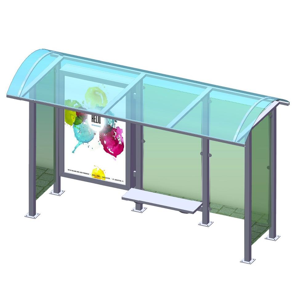 Modern technology outdoor frame tempered glass bus shelter stop