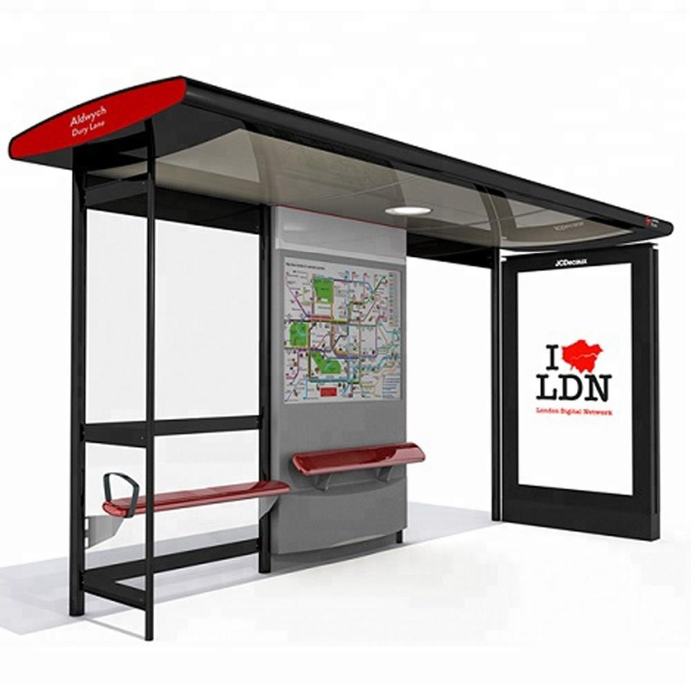 2020 hot sell bus stop bus shelter with outdoor led advertising light box