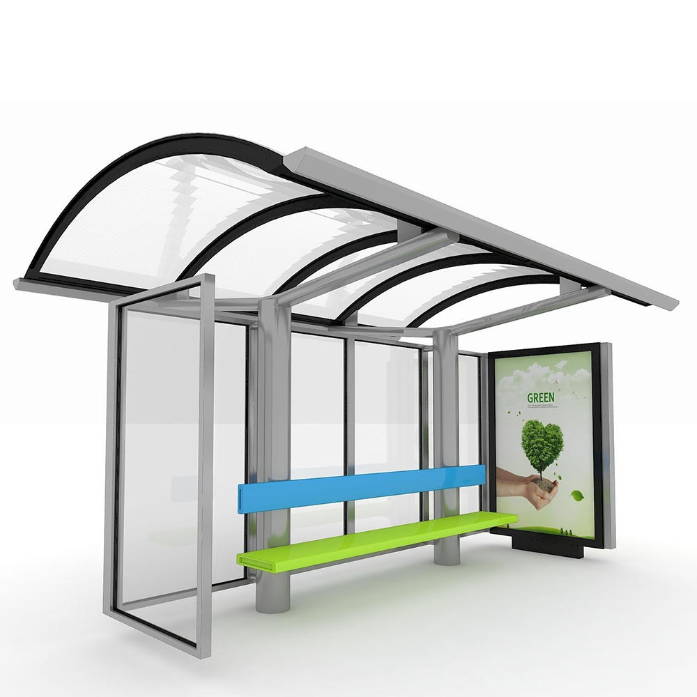 Good quality customized stainless steel bus stop shelter with bench