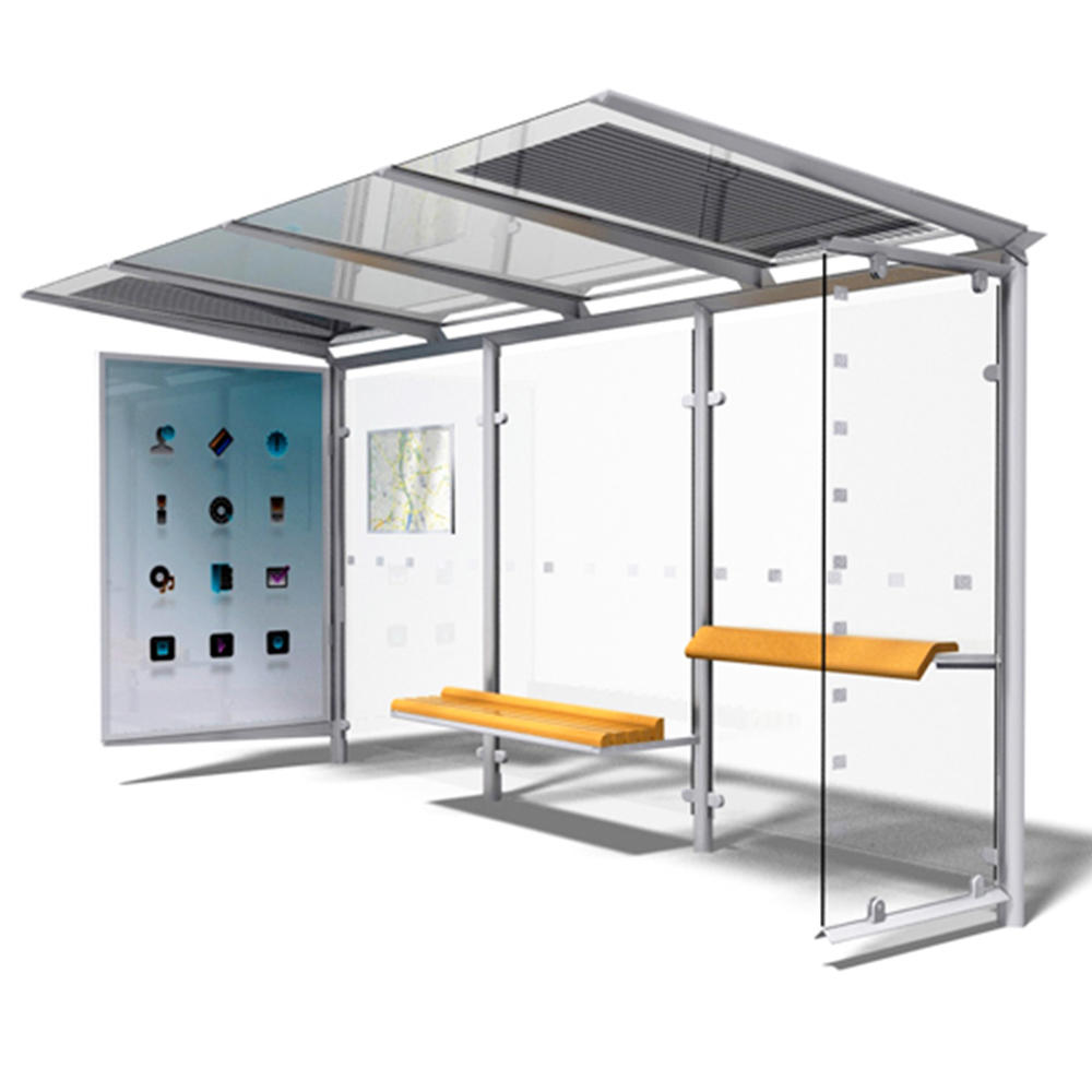 Outdoor Metal Bus Stop Shelters Advertising Steel Structure Bus Shelter