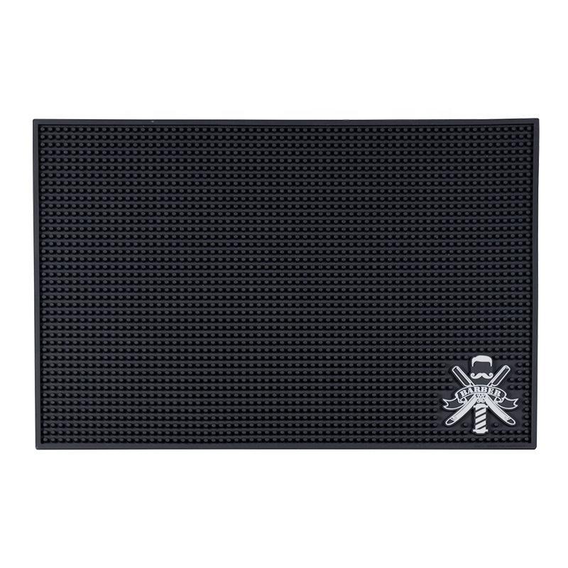 Black Flexible PVC Nonslip Material For Salon Styling Station Work Station Custom Logo Barber Rubber Mats