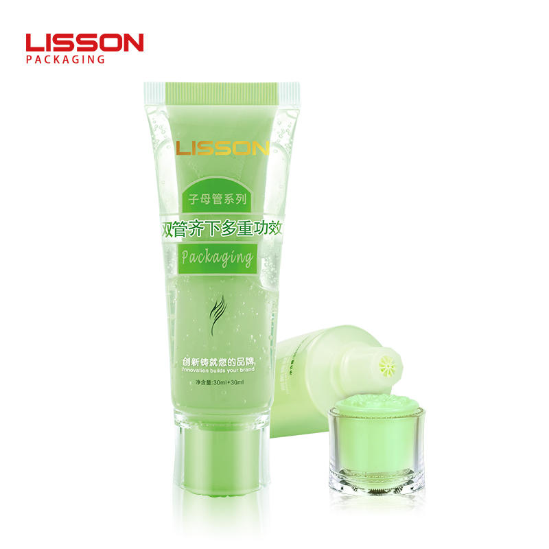 dual chamber tube in tube facial cleanser skincare packaging tube for double function usage