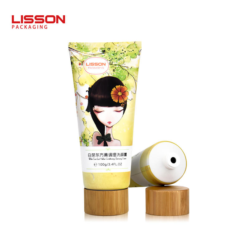D40 hot sale plastic squeeze cosmetic packaging tube with bamboo screw cap