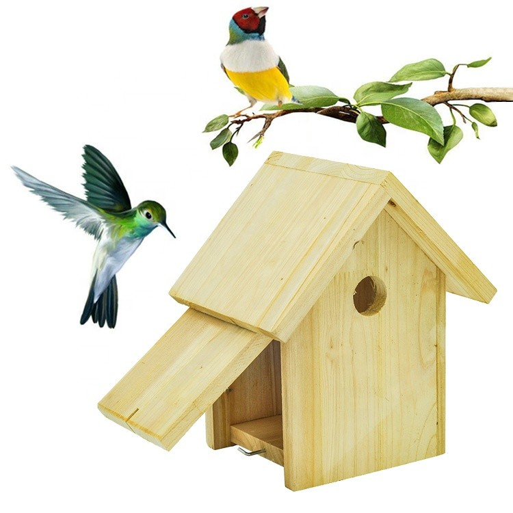 Custom eco-friendly new unfinished wood bird house,handmade hanging recycle wood craft bird nest breeding box