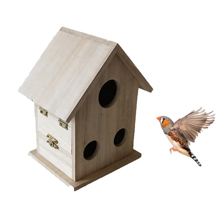 customized concise wooden bird house small recycled wood craft bird house