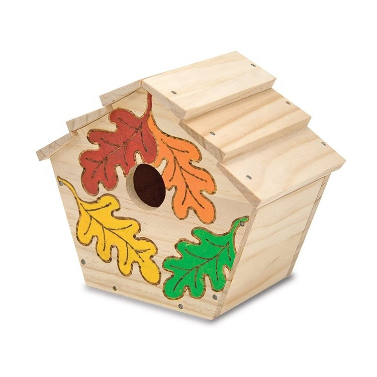 Excellent Quality New Unfinished Wooden Bird House Garden Birds Nest Decoration