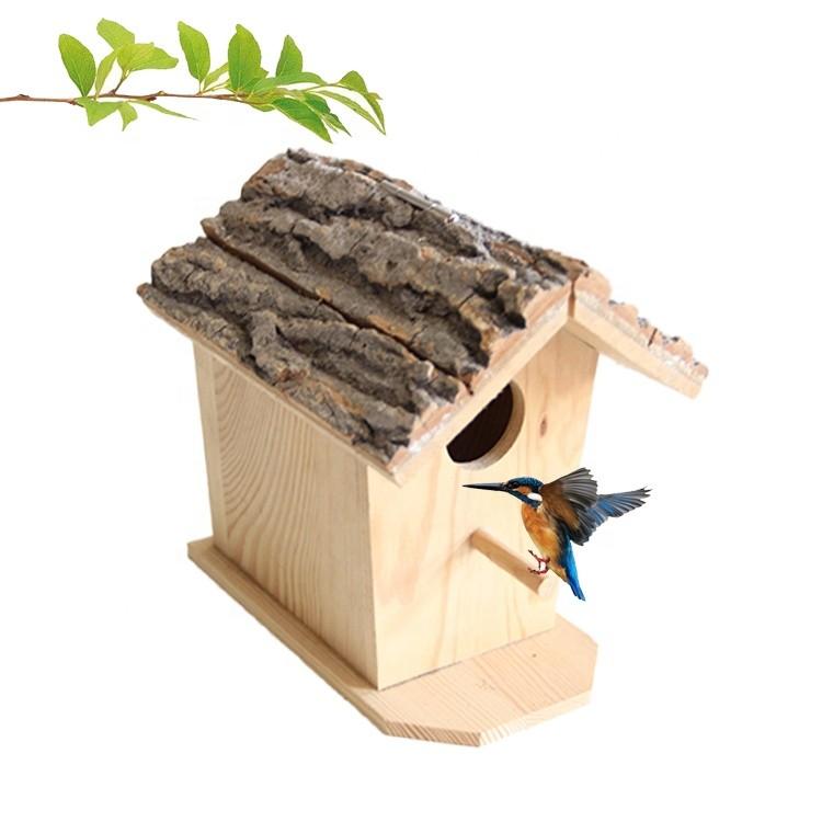 handmade indoor outdoor garden decoration natural bark birdhouse wooden birds nest house